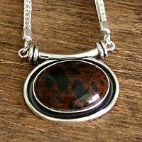 Mahogany obsidian choker, 'Mystical Medallion' - Mahogany obsidian choker