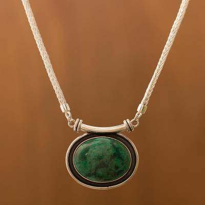 Chrysocolla choker, 'Mystical Medallion' - Sterling Silver Pendant Chrysocolla Necklace