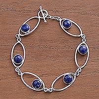 Lapis lazuli link bracelet, 'Orbits' (Peru)