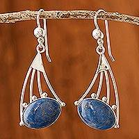 Lapis lazuli dangle earrings, 'Inca Comets' - Modern Sterling Silver Dangle Lapis Lazuli Earrings