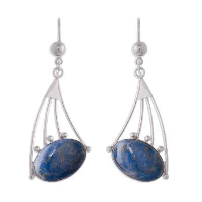 Modern Sterling Silver Dangle Lapis Lazuli Earrings