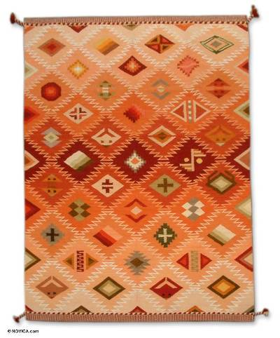 Hand Loomed Geometric Wool Area Rug (6x8.5)