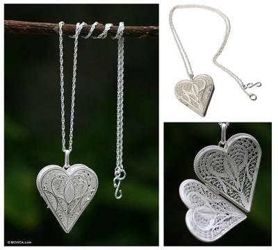 Silver locket necklace, Loving Heart