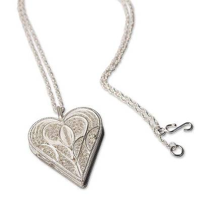 Fair Trade Filigree Heart Locket Necklace