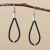 Leather earrings, 'Brown Lasso' - Hand Made Leather Dangle Earrings from Peru