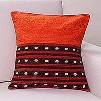 Wool cushion cover, 'Field at Sunset' - Artisan Crafted Geometric Wool Cushion Cover