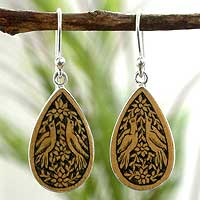 Mate gourd dangle earrings, 'Tears for Peace' - Hand Crafted Mate Gourd Bird Earrings