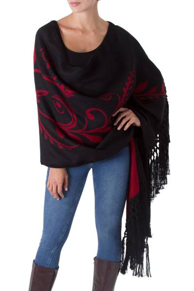 Alpaca blend shawl, 'Crimson Harvest' - Artisan Crafted Alpaca Wool Reversible Shawl