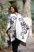 Reversible alpaca blend ruana cloak, 'Silhouette' - Peruvian Floral Reversible White and Grey Wrap Ruana thumbail