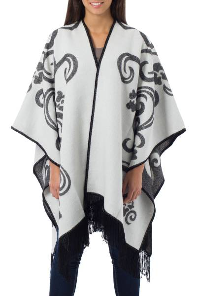 Peruvian Floral Reversible White and Grey Wrap Ruana