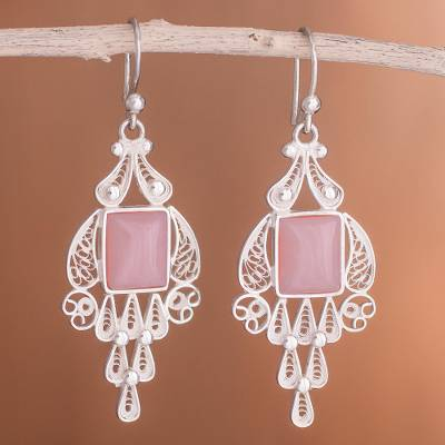 Rose quartz chandelier earrings, 'Pink Tulip' - Handcrafted Fine Silver and Rose Quartz Dangle Earrings