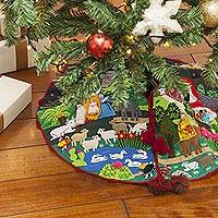Applique Christmas tree skirt, 'Nativity Scene' - Peruvian Folk Art Cotton Christmas Scene Tree Skirt