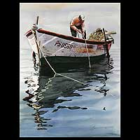 'Marine Reflections IV' (2008) - Peruvian Fisherman Watercolor Painting