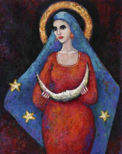 'Woman and Moon' - Moon Princess Original Fine Art Oil Painting Peru