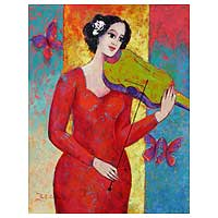 'Allegro with Violin' - Original Fine Art Oil Painting Peru