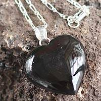 Obsidian heart necklace,