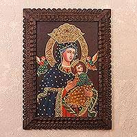 'Virgin Mary and Jesus with Cherubim' - Religious Colonial Replica Painting from Peru