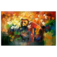 'Ecosystem of the Bear III' (2008) - Bear with Flowers Abstract Painting Peru Fine Art