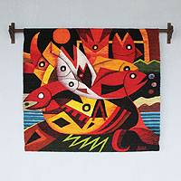 Wool tapestry, 'Gift of the Sea' - Wool tapestry