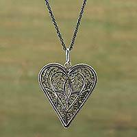Silver heart necklace, 'Shadow Heart' - Silver Filigree Heart Necklace from Peru