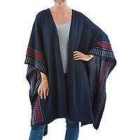 Alpaca blend ruana cloak, 'Nautical Navy' - Beautiful Peruvian Cloak of Alpaca Wool