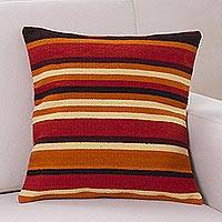Wool cushion cover, 'Kingdom of the Sun' - Handmade Geometric Wool Striped Cushion Cover
