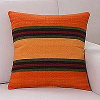 Wool cushion cover, 'Three Worlds'