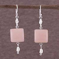 Pearl and rose quartz dangle earrings, Frosted