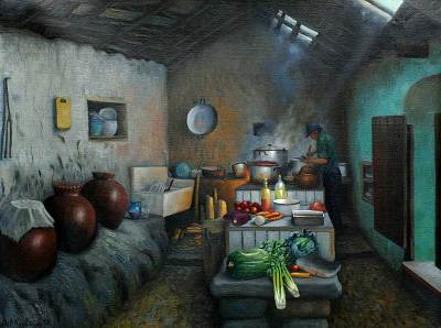 'Dona Lucila's Spicy Kitchen' - Architectural Realist Painting