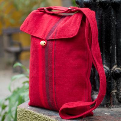 Alpaca shoulder bag, 'Cool Cranberry' - Alpaca shoulder bag