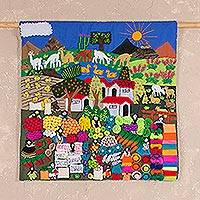 Applique wall hanging, 'Street Market' - Cotton Folk Art Wall Hanging