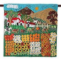 Applique wall hanging, 'Sunflower Farm' - Hand Crafted Peruvian Folk Art Applique Wall Hanging