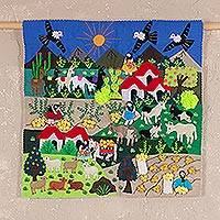 Applique wall hanging, 'Potato Harvest' - Applique Patchwork Tapestry Peruvian Folk Art