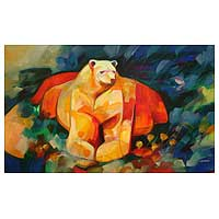 'My Best Friend' (2008) - Strong Bear Original Painting Peru Art