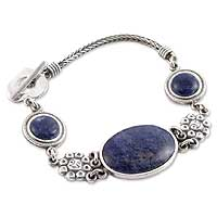Sodalite bracelet, 'Blue Bouquet' - Hand Crafted Silver and Sodalite Bracelet