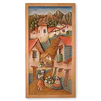 Cedar relief panel, 'Selling Flowers' - Mountain Town Hand Carved Cedar Relief Wall