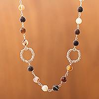 Agate and onyx strand necklace,
