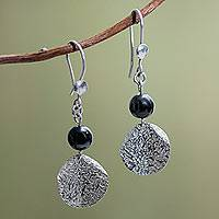 Hematite earrings, 'Shimmer' - Fair Trade Sterling Silver and Hematite Earrings