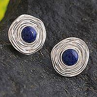 Sodalite button earrings, 'Blue Rosebud' - Silver Sodalite Button Earrings