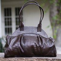 Leather handbag, 'Chic Chocolate' - Brown Leather Baguette Handbag
