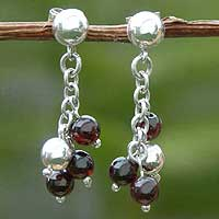 Garnet earrings, 'Inner Fire' - Garnet earrings