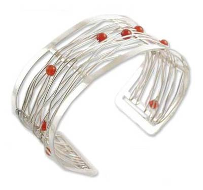 Handcrafted Woven Fine Silver Wire and Carnelian Beaded Cuff Bracelet