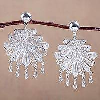 Silver chandelier earrings, 'Silver Dance' - Sterling Silver Filigree Chandelier Earrings