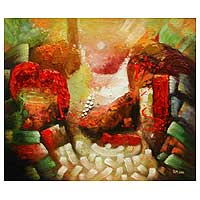 'Red Siesta' - Original Surrealist Painting