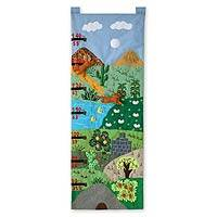 Applique wall hanging, 'Measure Me Foxes' - Applique wall hanging
