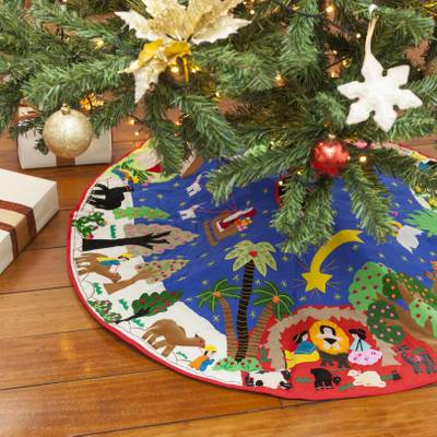 Applique Christmas tree skirt, 'In Bethlehem' - Unique Applique Christmas Tree Skirt