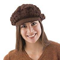 100% alpaca hat, 'Chocolate Cap' - Women's Fair Trade Alpaca Wool Hat from Peru