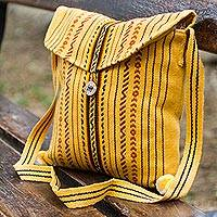 Shoulder bag, 'Sun Feast' - Handmade Yellow Shoulder Bag from Peru