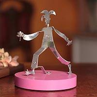 Recycled aluminum statuette, 'Harlequin Delivering Love' (Peru)
