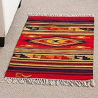 Wool rug, 'Red Star' (2x3)